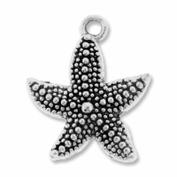 Antiqued Silver 23mm Starfish Charms (10PK)