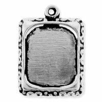Antiqued Silver Rectangle Picture Frame Charm (5PK)