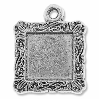 Antiqued Silver Square Picture Frame II Charm (5PK)