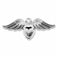 Antiqued Silver 14x34mm Wings-n-Heart Charms (5PK)