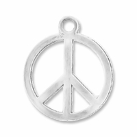 Antiqued Silver 21mm Peace Sign Charms (10PK)
