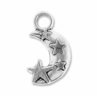 Antiqued Silver 19mm Moon n Stars Charms (10PK)