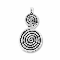 Antiqued Silver 28mm Large Spiral Charms/Pendants (5PK)