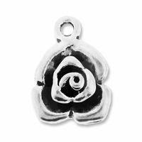 Antiqued Silver 16mm Thai Rose Charms (5PK)