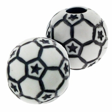 12mm Plastic Soccer Ball  Beads (10PK)