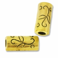 Antiqued Gold Plated 12X5mm Floral Tube Bead (1PC)