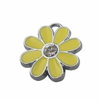 Silver Plated Enamel Crystal Yellow Flower Charm (1PC)