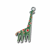 Silver Plated Enamel Green Giraffe Charm (1PC)
