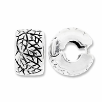 MIOVI™ Silver Antiqued 9.5mm Leaf  Drum Bead Stopper (1PC)