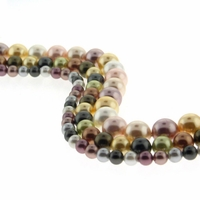 Group of 3 Strands Mixed Color South Sea Shell Pearl Beads
