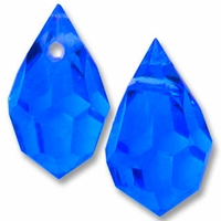 Czech 6 x 10mm Tear Drop Capri Blue (1PR)