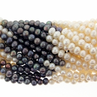 Multi-Color White and Peacock Potato Pearl 5-6mm Bead Strand