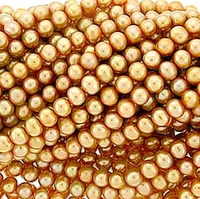 Gold Potato Freshwater Pearl 6-7mm Bead Strand