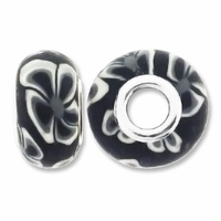MIOVI™ Polymer Clay Beads w/Silver Plated Grommet,15x10mm Black & White Floral Design Rondelle Beads (6PK)
