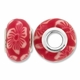 MIOVI™ Polymer Clay Beads w/Silver Plated Grommet,15x10mm Red & White Floral Design Rondelle Beads (6PK)