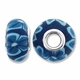 MIOVI™ Polymer Clay Beads w/Silver Plated Grommet,15x10mm Navy & Lt Blue Floral Design Rondelle Beads (6PK)
