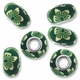 MIOVI™ Polymer Clay Beads w/Silver Plated Grommet,15x10mm Green & White Floral Design Rondelle Beads (6PK)