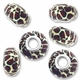 MIOVI™ Polymer Clay Beads w/Silver Plated Grommet,15x10mm Animal Print Design Rondelle Beads (6PK)