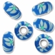 MIOVI™ Polymer Clay Beads w/Silver Plated Grommet,15x10mm Blue & White Flower Design Rondelle Beads (6PK)