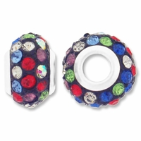 MIOVI™ Rhinestone Beads 15x9mm Large Hole Mixed Rhinestone Black Resin Rondelles (1PC)