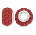 MIOVI™ Rhinestone Beads 15x9mm Large Hole Hyacinth Rhinestone Red Resin Rondelles (1PC)