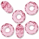 MIOVI™ Glass Crystal Cut Large Hole Beads no Grommets 14x8mm Pink (6PK)