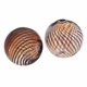 Hand Blown 13mm Round Clear Brown Swirl Glass Bead (1PC)