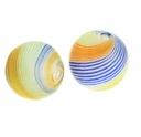 Hand Blown 13mm Round White Blue Orange Green Swirl Glass Bead (1PC)