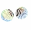 Hand Blown 13mm Round White Brown Blue Green Swirl Glass Bead (1PC)