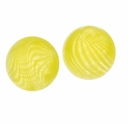Hand Blown 13mm Round Clear Yellow Swirl Glass Bead (1PC)