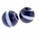 Hand Blown 13mm Round Black White Swirl Glass Bead (1PC)