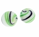 Hand Blown 13mm Round White Black Green Swirl Glass Bead (1PC)