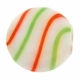 White Red Green Swirl Hand Blown 15mm Flat Round Glass Bead (1PC)