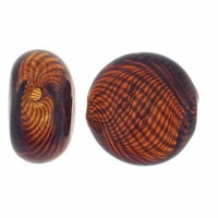 Amber Brown Swirl Hand Blown 15mm Flat Round Glass Bead (1PC)