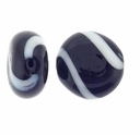 Black White Swirl Hand Blown 15mm Flat Round Glass Bead (1PC)