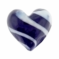 Hand Blown 20mm Heart Black White Black Swirl Glass Bead (1PC)