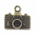 Antiqued Brass Camera Charm (10PK)