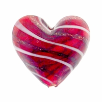 Hand Blown 20mm Heart Red Goldleaf White Red Goldleaf Swirl Glass Bead (1PC)