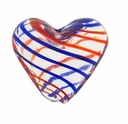 Hand Blown 20mm Heart Clear Red Blue Swirl Glass Bead (1PC)