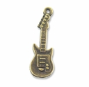 Antiqued Brass Guitar Charm (10PK)