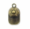 Antiqued Brass Baseball Cap Charm (10PK)