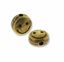 Antiqued Brass Smile Face Flat Round Bead (10PK)