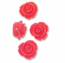11mm Little Coral Rose Resin Beads (4PK)