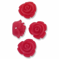 11mm Little Red Rose Resin Beads (4PK)