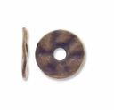 Antiqued Brass 14mm Wavy Flat Disk Spacer Beads (10PK)