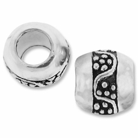 MIOVI™ Silver Plated Large Hole 9mm Pretty Barrel Bead (1PC)
