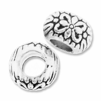 MIOVI™ Silver Plated Large Hole 9mm Flower Rondel Bead (1PC)