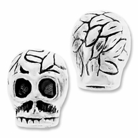 MIOVI™ Silver Plated Large Hole 8mm Nature Skull Bead (1PC)