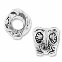 MIOVI™ Silver Plated Large Hole 11mm Wise Owl Bead (1PC)