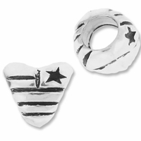 MIOVI™ Silver Plated Large Hole 8mm Patriotic Heart Bead (1PC)